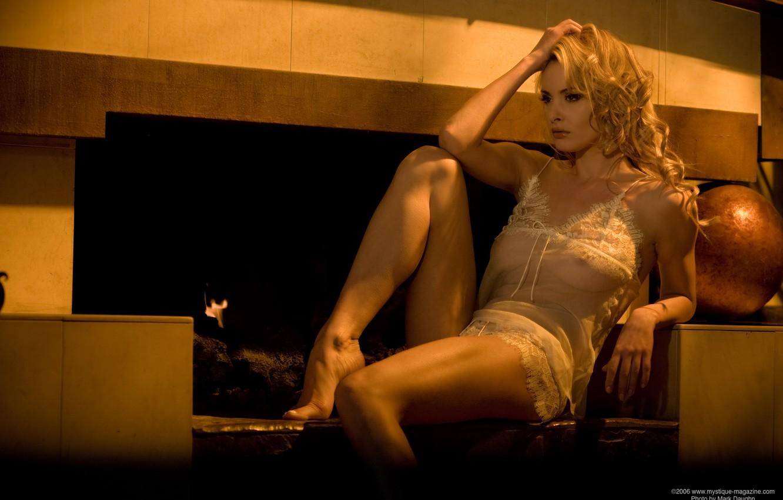 Photo wallpaper sadness, girl, mood, blonde, fireplace