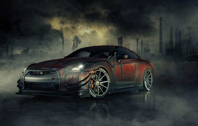 Photo wallpaper Nissan, Zombie, GT-R, Front, R35, Dead, Killer, Walking