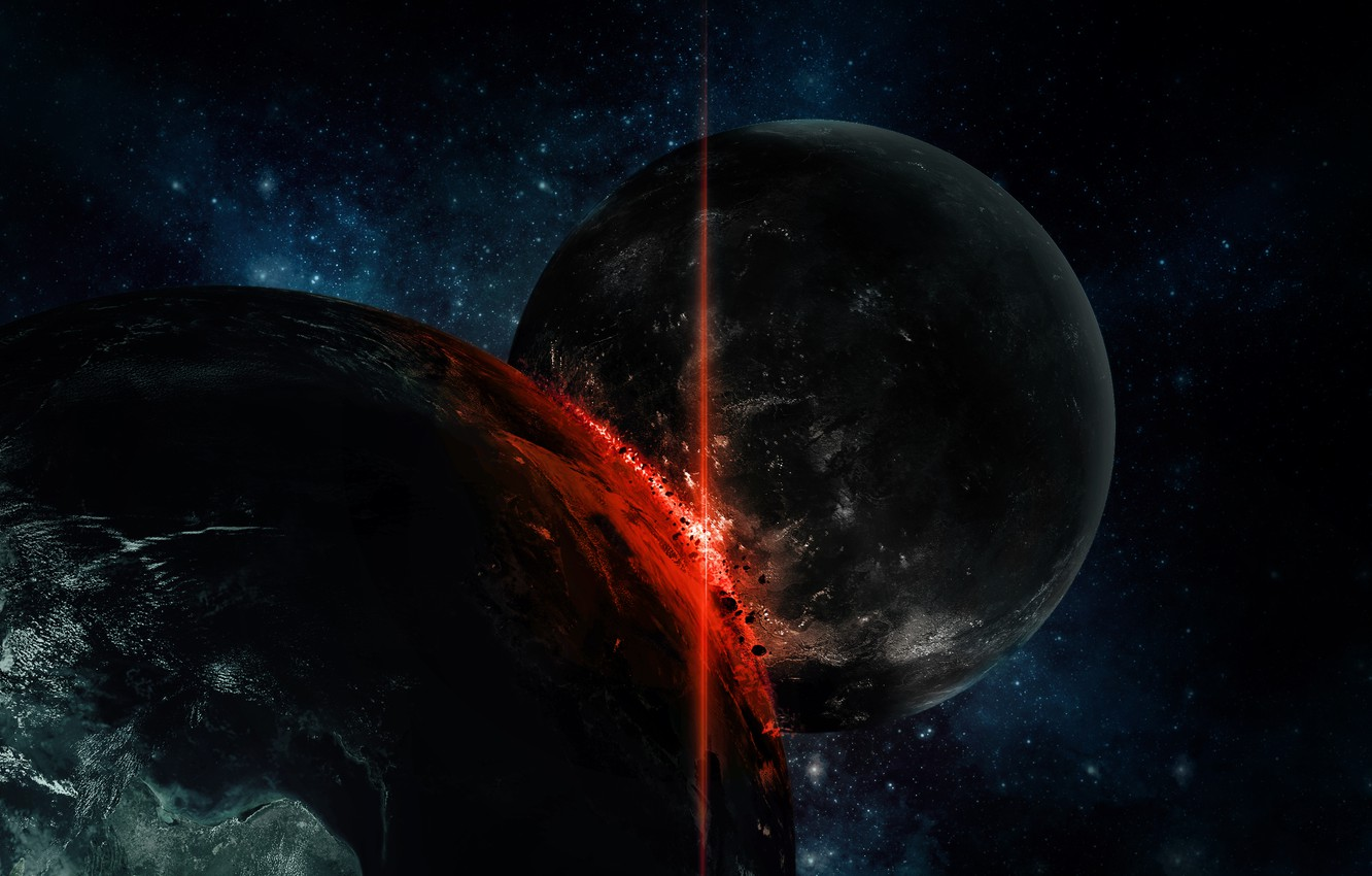 Photo wallpaper the wreckage, fire, planet, disaster, blow, clash, stars, impact