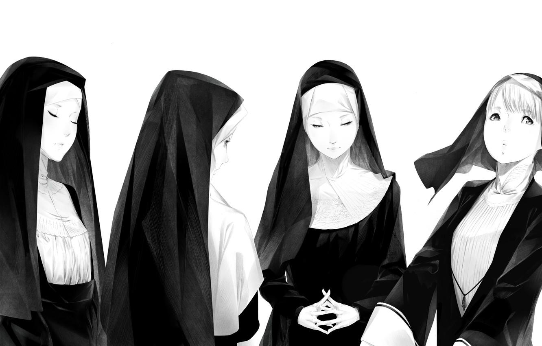Photo wallpaper white, girls, black, art, Sawasawa, nuns