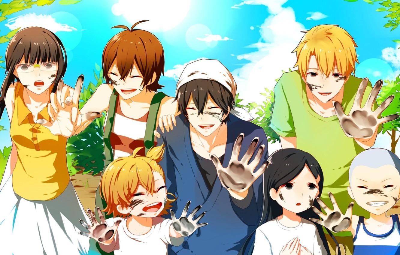 Photo wallpaper the sky, children, foliage, laughter, glasses, ink, shawl, fun, palm, sensei, Barakamon, Kotoishi Naru, Hanada …