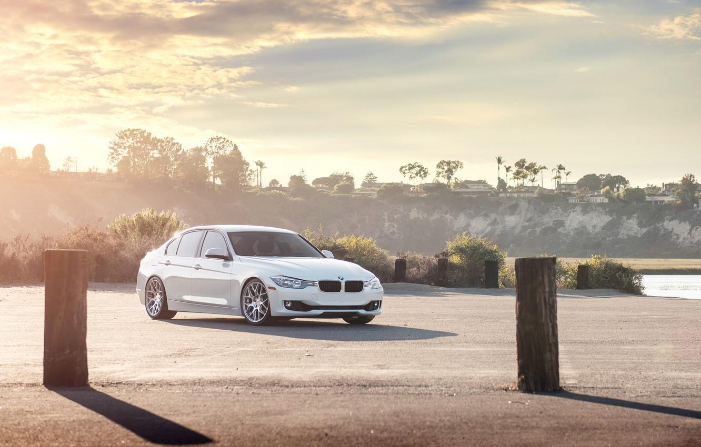 Photo wallpaper Sunset, BMW, White, BMW, 328i, F30, Sedan