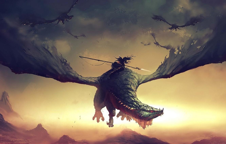 Photo wallpaper fiction, dragon, battle