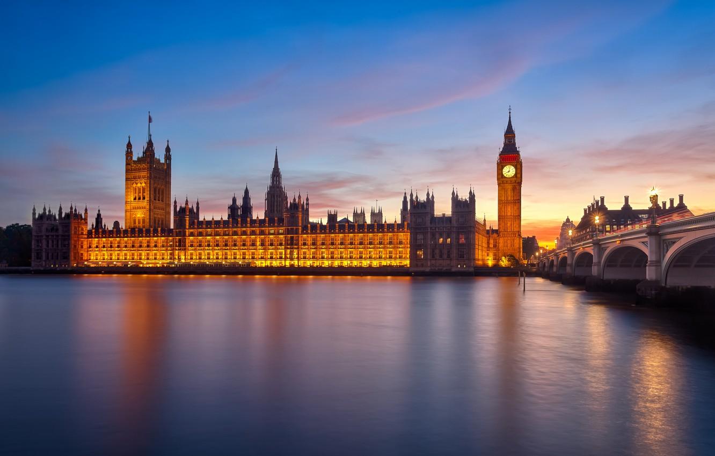 Photo wallpaper bridge, the city, river, England, London, morning, UK, Thames, Big Ben, The Palace of Westminster, …