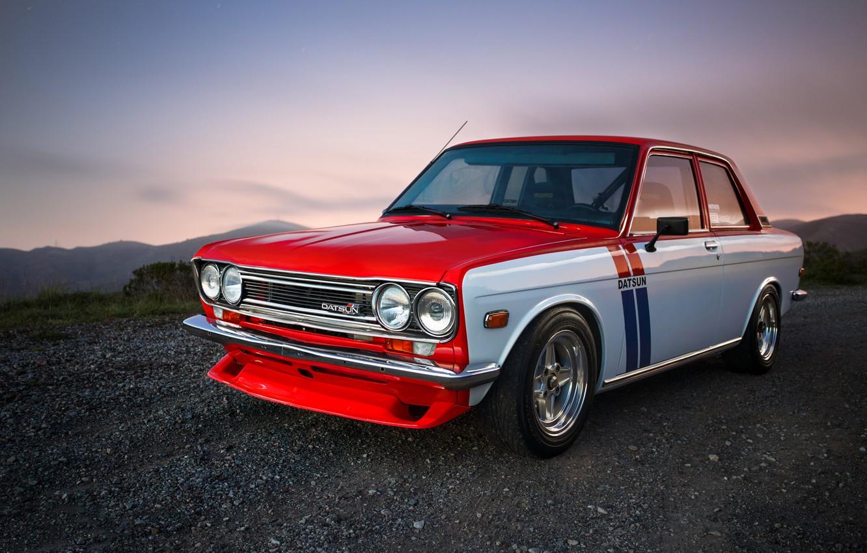 Photo wallpaper red, Datsun, 510, chromium, withe