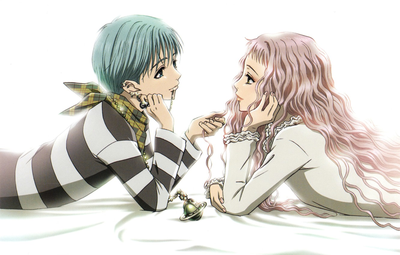 Photo wallpaper piercing, lighter, white background, two, pink hair, curly hair, Nan, nana, shinichi okazaki, reira serizawa, …