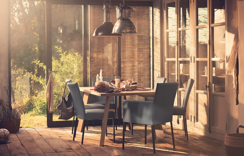Photo wallpaper house, furniture, the ball, food, interior, the door, window