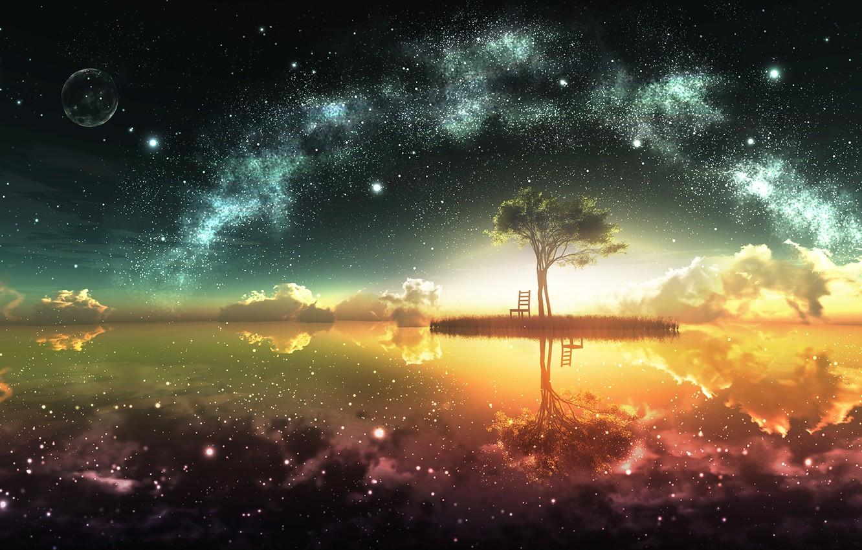 Photo wallpaper the sky, the sun, stars, clouds, reflection, tree, earth, the moon, island, horizon, art, chair, …