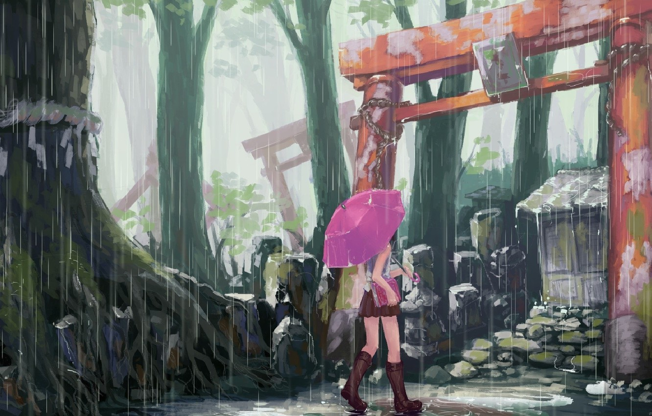Photo wallpaper tree, boots, umbrella, gate, puddle, Girl, book, the shower, sanctuary