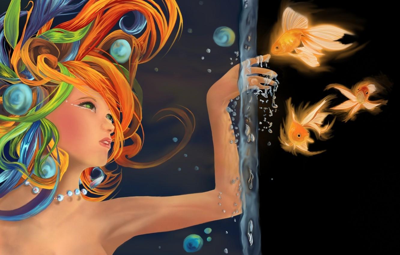 Photo wallpaper water, girl, fish, fish, bubbles, figure, hand, gold