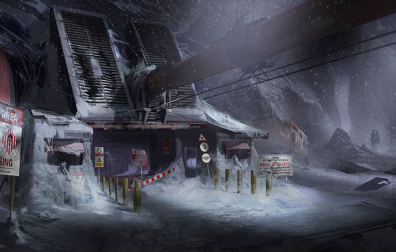 Photo wallpaper Snow, Mountain, Posts, The building, Armor, Art, Technique, Isaac Clarke, Electronic Arts, Dead Space 3, …