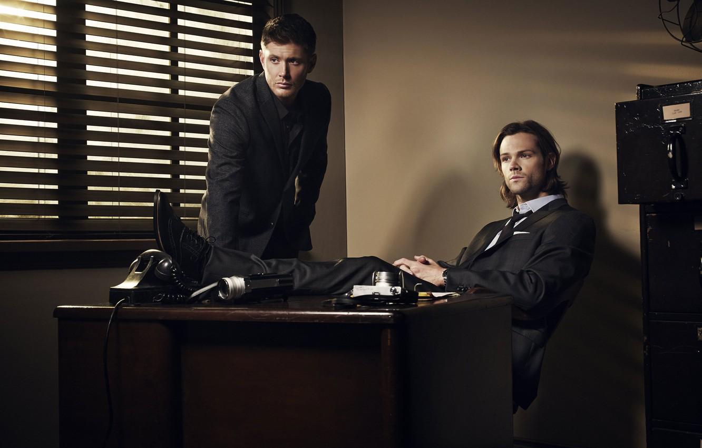 Photo wallpaper table, actors, Dean, men, Supernatural, Jensen Ackles, Supernatural, costumes, Sam, Dean, Sam, Jared Padalecki, Jensen …