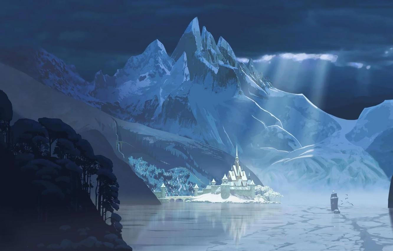 Photo wallpaper winter, mountains, castle, Frozen, Disney, harbour, Disney, Cold Heart, Arendelle, Arendell