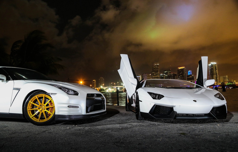 Photo wallpaper white, night, lights, nissan, white, lamborghini, Nissan, gt-r, aventador, lp700-4, Lamborghini, gtr, r35, agotador