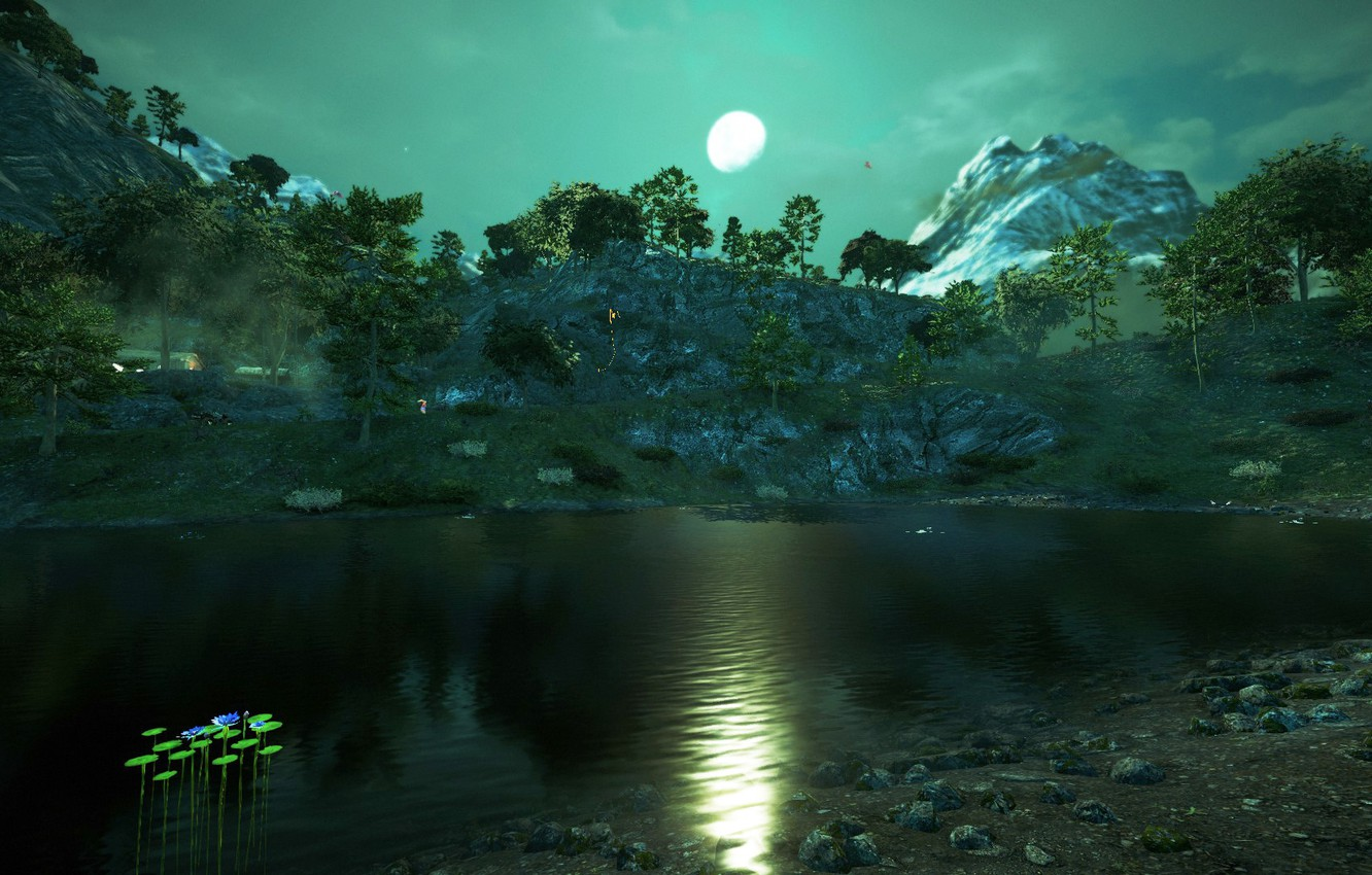 Photo wallpaper trees, landscape, mountains, the moon, picture, Far Cry 4