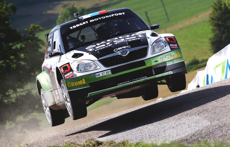 Photo wallpaper Auto, Sport, Race, Shadow, Lights, Rally, Rally, The front, Skoda, Fabia, Fabia, Skoda