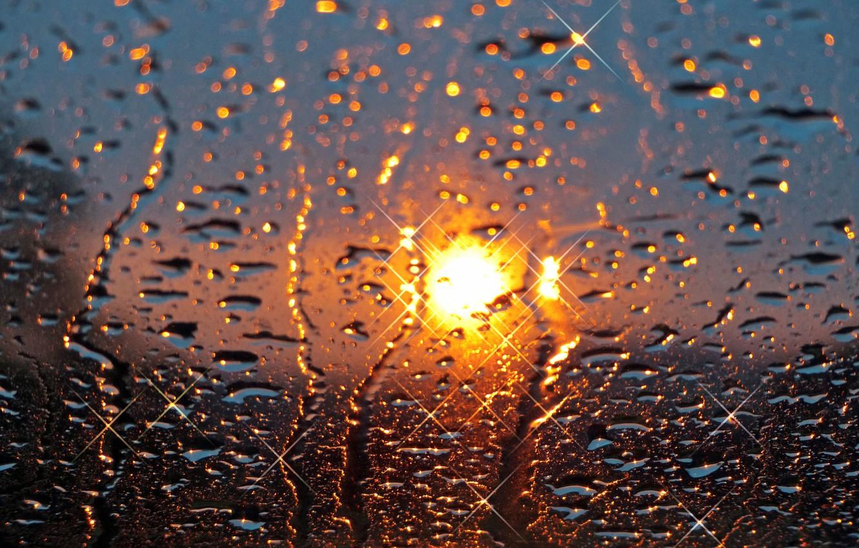 Photo wallpaper glass, the sun, drops, sunset, rain