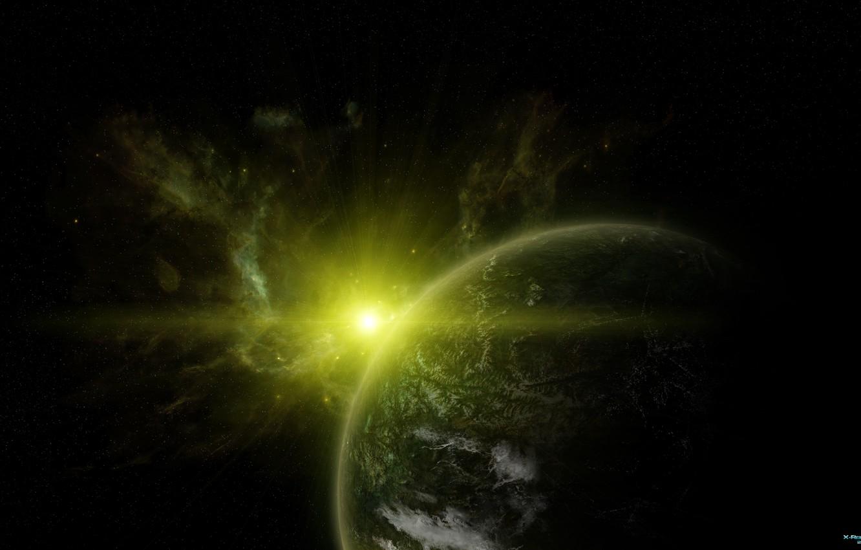 Photo wallpaper stars, space, planet, sunrise, infinity