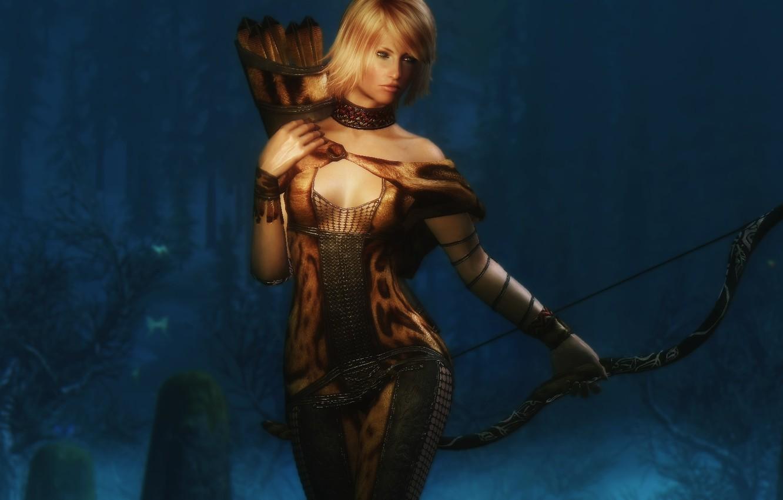 Photo wallpaper girl, rendering, background, body, Archer