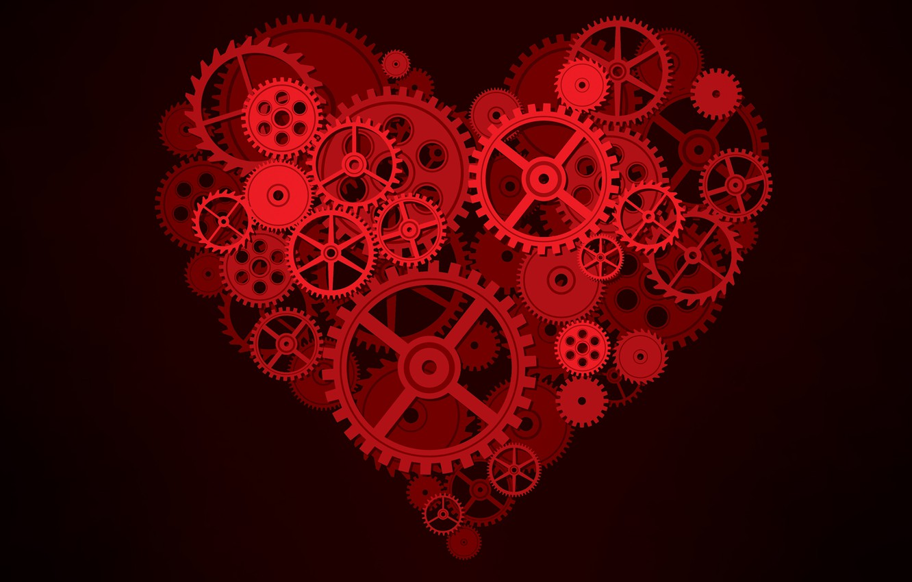 Photo wallpaper background, mechanism, Heart, gear