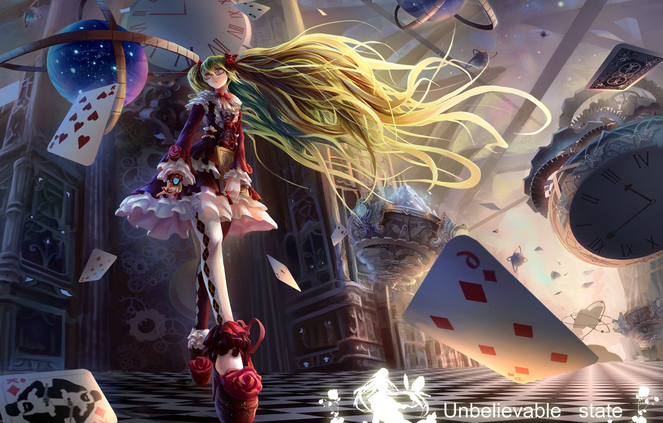 Photo wallpaper card, girl, magic, watch, book, vocaloid, hatsune miku, globe, Vocaloid, art, gait, neko-mura ikkro