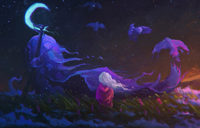 Photo wallpaper field, the sky, grass, flowers, night, bird, the moon, sleep, spirit, art, girl, Crescent
