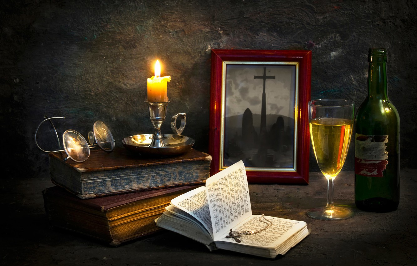 Photo wallpaper photo, books, candle, cross, The pastor's abode