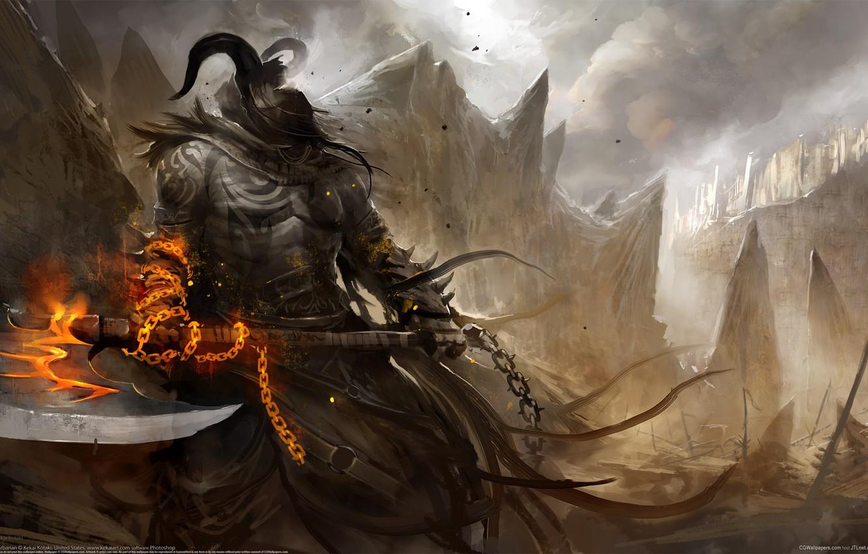 Photo wallpaper figure, warrior, axe, The demon