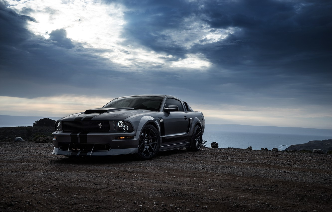 Photo wallpaper Mustang, Ford, Muscle, Car, Front, Grey, San Francisco, Boss, Collection, Aristo, 281