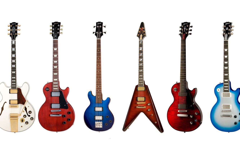 Photo wallpaper tool, electric guitar, collection, Gibson, bass guitar