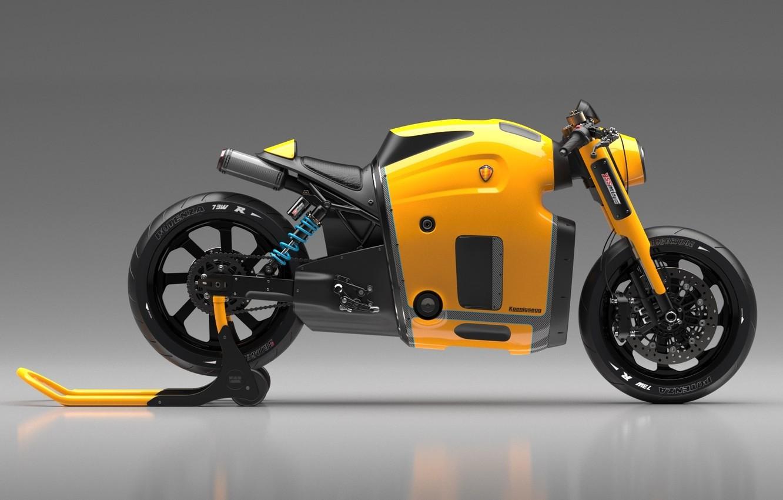 Photo wallpaper Concept, Koenigsegg, Yellow, Side, Bike, Wheels, Brake