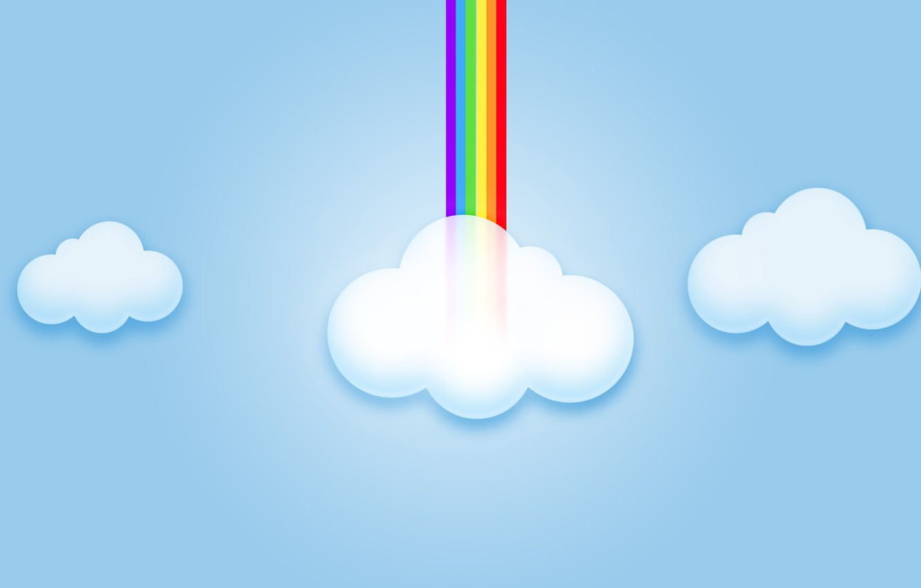 Photo wallpaper the sky, clouds, rainbow, computer graphics