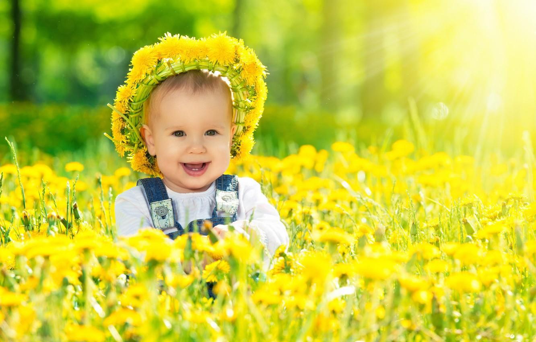 Photo wallpaper smile, dandelions, wreath, child, sunlight