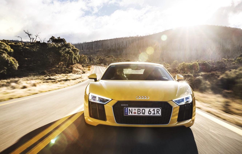 Photo wallpaper road, machine, the sun, glare, Audi, the front, V10