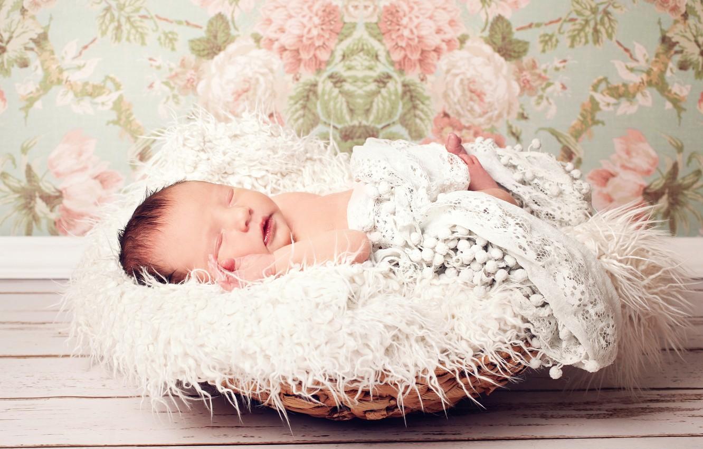 Photo wallpaper child, child, baby, newborn