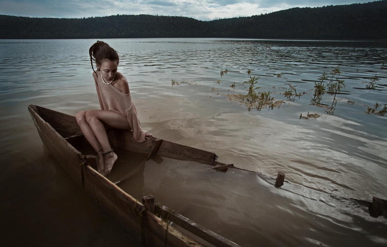 Photo wallpaper girl, boat, stop