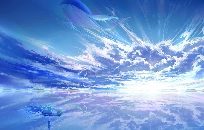 Photo wallpaper the sky, water, girl, the sun, clouds, landscape, sunset, reflection, anime, art, kit, vocaloid, hatsune …