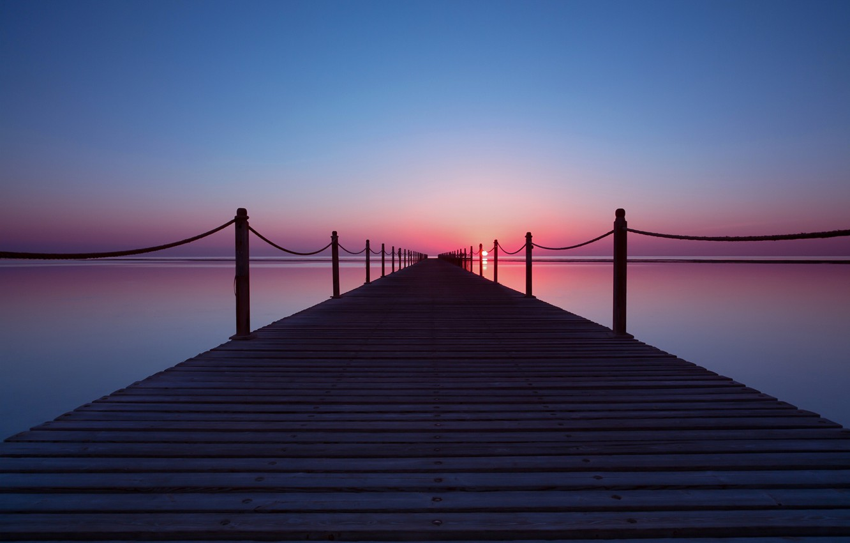 Photo wallpaper sea, the sky, the sun, sunset, pier, pierce