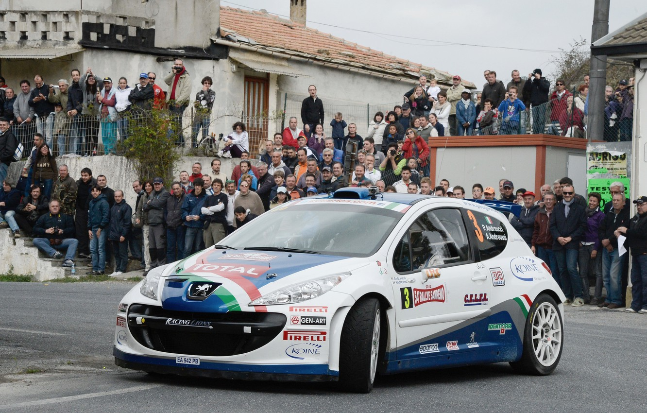 Photo wallpaper Road, The city, People, Peugeot, WRC, Rally, Rally, The front, Fans, 207