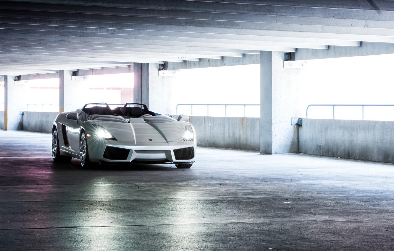 Photo wallpaper machine, Concept, lights, Lamborghini, white, supercar, sports car, Gallardo, Lamborghini, Lamborghini Gallardo, without a roof, …
