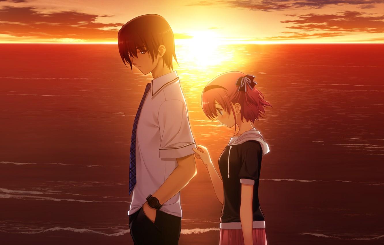 Photo wallpaper love, sunset, mood, the game, the evening, anime, two, komine sachi, grisa of no kajitsu