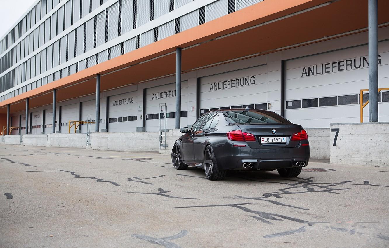 Photo wallpaper black, the building, Windows, BMW, BMW, black, back, f10
