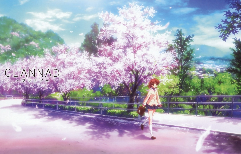 Wallpaper Road Girl Sakura Clannad Clannad Nagisa Furukawa