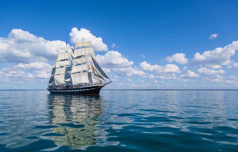 Photo wallpaper sea, clouds, reflection, ship, sails