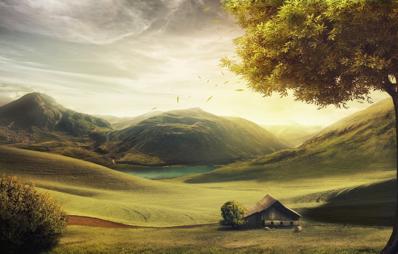 Photo wallpaper mountains, house, tree, hills, figure, sheep, England, Danil Kartashev