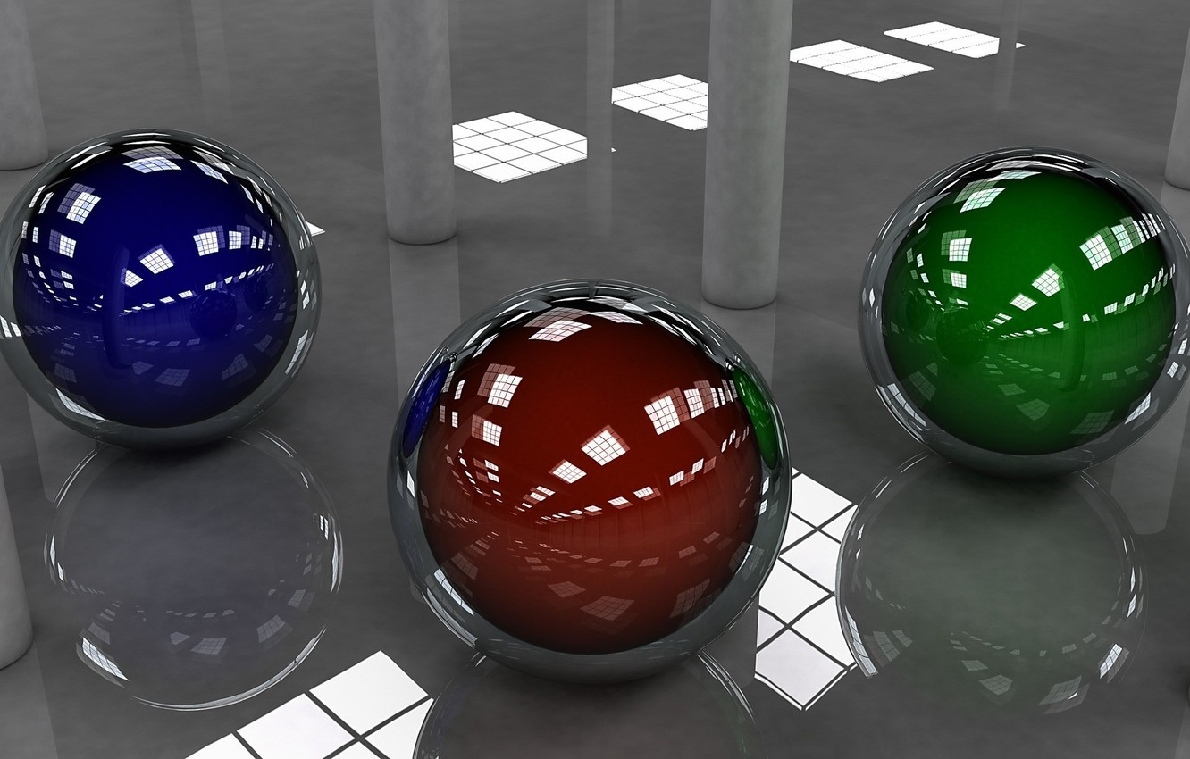 Photo wallpaper blue, red, reflection, background, balls, green, sphere