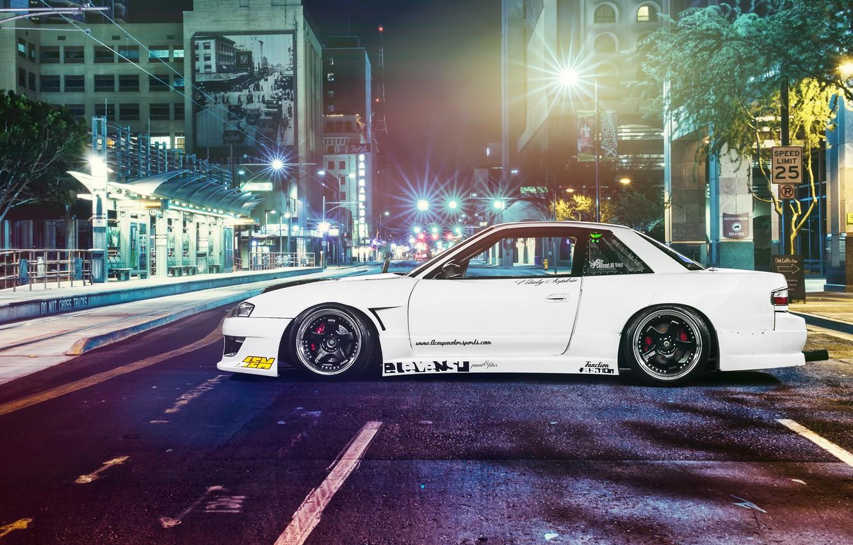 Photo wallpaper car, night, street, tuning, Nissan, tuning, s13, rechange, nissan silvia