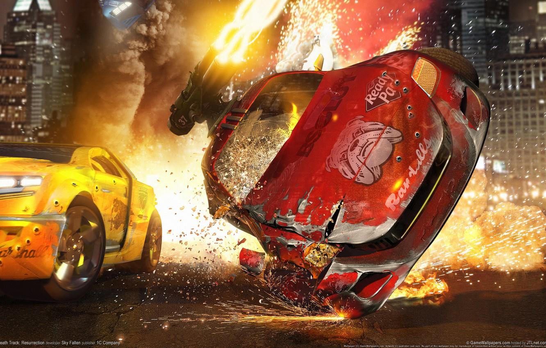 Photo wallpaper crash, fire, race, death track resurrection
