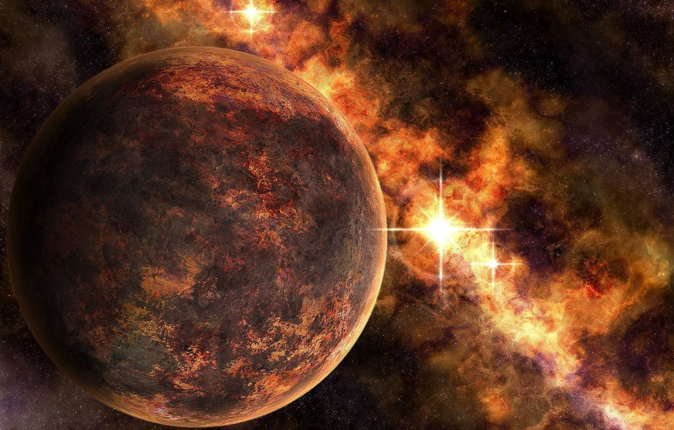 Photo wallpaper space, space, planets, artwork