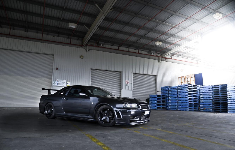 Photo wallpaper black, nissan, Boxing, black, skyline, Nissan, r34, skyline, shutters